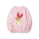 Lovely Cartoon Cat Printed Round Neck Long Sleeve Pullover Leisure Sweatshirt