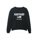 Fashion HARVARD LAW JUST KIDDING Letter Printed Round Neck Pullover Sweatshirt