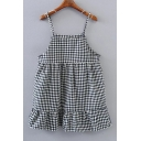 Summer Spaghetti Straps Sleeveless Plaid Ruffle Hem Mini Cami Dress