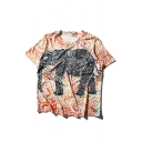 New Fashion Elephant Printed Round Neck Short Sleeve Pullover Leisure Graphic Tee