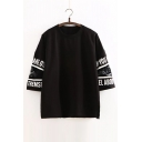 Round Neck 3/4 Sleeve Lace Inserted Sleeve Letter Printed BF Style Oversize T-Shirt