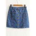 Summer's High Waist Buttons Down Mini A-Line Denim Skirt with Pockets