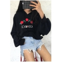 Rose Embroidered Letter Printed Long Sleeve Oversize Boyfriend Style Hoodie