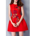 Chic Embroidery Floral Pattern Sleeveless Zip-Back Round Neck Mini A-Line Dress