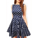 Summer's Boat Neck Sleeveless Polka Dot Printed A-Line Mini Dress