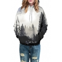 Color Block Forest Printed Loose Oversize Leisure Hoodie for Couple
