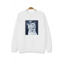 Unisex Cat Printed Long Sleeve Round Neck Pullover Sweatshirt