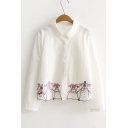 Lovely Embroidery Cartoon Pig Pattern Lapel Single Breasted Long Sleeve Shirt