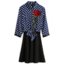 Polka Dot Printed Rose Embroidered Lapel Collar 3/4 Sleeve Tie Waist A-Line Midi Dress