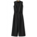 New Arrival Button Shoulder Zip Side Sleeveless Round Neck Wide Leg Jumpsuits