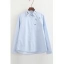 Fresh Embroidered Lapel Collar Long Sleeve Buttons Down Shirt with Single Pocket