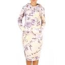 Fashion Drawstring Hooded Long Sleeve Map Printed Midi Sweatshirt Dress