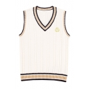 Classic Uniform V-Neck Sleeveless Color Block Letter Embroidered Vest Sweater