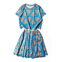 Casual Cheese Printed Short Sleeve Round Neck Tee with Elastic Waist A-Line Skirt