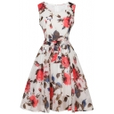 Elegant Floral Printed Sleeveless Belt Waist Round Neck Midi Fit & Flare Dress