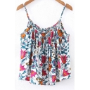 Spaghetti Straps Sleeveless Floral Printed High Low Hem Cami Top