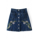 Floral Embroidered Single Breasted Mini A-Line Denim Skirt with Double Pockets