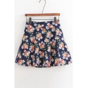 High Waist Floral Printed Basic Summer's A-Line Mini Pleated Skirt