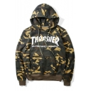 Camouflage Color Block Letter Printed Long Sleeve Loose Hoodie with Pockets