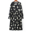 Round Neck Long Sleeve Cat Printed Keyhole Back Chiffon Midi Smock Dress