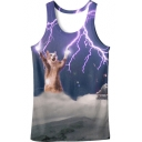 New Fashion Round Neck Sleeveless Digital Lightning Cat Printed Loose Tank Tee