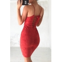 New Fashion Sexy Crisscross Back Spaghetti Straps Plain Bodycon Mini Dress