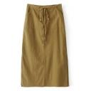 Women's Drawstring Waist Split Sides Plain Maxi Bodycon Skirt
