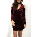 Choker Cold Shoulder Cutout V-Neck Long Sleeve Plain Mini Bodycon Dress