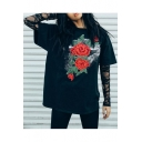 Summer's Street Style Rose Embroidered Round Neck Short Sleeve Loose T-Shirt