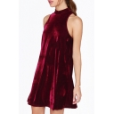 Simple Round Neck Sleeveless Open Back Plain Sexy Mini Velvet Dress