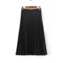 Glamorous Zip Side Plain Maxi Pleated Skirt