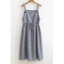 Drawstring Waist Sleeveless Straps Plaid Midi Overall Dress