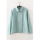 Linen Lapel Collar Long Sleeve Embroidered Placket Casual Leisure pullover Blouse