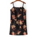 Sexy Floral Printed Spaghetti Straps Sleeveless Mini Cami Dress