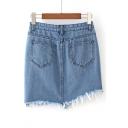 New Arrival Asymmetric Fringe Hem Plain Mini Denim Skirt