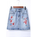 Fashion Embroidery Floral Pattern Mini Bodycon Denim Skirt