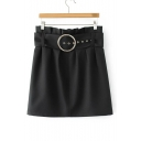 New Arrival Zip-Back Belt Waist Embellished Metallic Ring Plain Mini Skirt