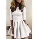 Round Neck 3/4 Length Sleeve Plain Mini A-Line Dress