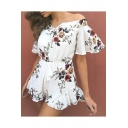 Holiday Beach Off the Shoulder Short Sleeve Floral Printed Leisure Playsuits
