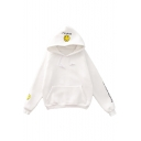 Happy Face Letter Printed Long Sleeve Leisure Hoodie with Pockets
