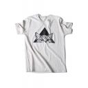 Stylish Cartoon Cat Printed Round Neck Short Sleeve Cotton Pullover Leisure T-Shirt