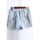 Women's Fashion Embroidery Floral Pattern Mid Waist Denim Shorts
