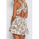 Sexy Plunge Neck Crisscross Open Back Floral Printed Fashion Rompers