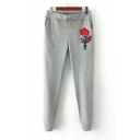 Elastic Drawstring Waist Rose Embroidered Fashion Sports Pants with Pockets