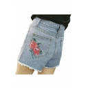 High Waist Rose Embroidered Back Pocket Raw Edge Leisure Denim Shorts