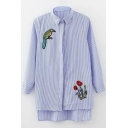 High Low Hem Embroidery Bird Floral Pattern Single Breasted Striped Tunic Shirt