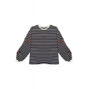 Striped Printed Floral Embroidered Round Neck Long Sleeve Pullover Leisure Sweatshirt
