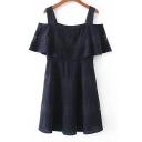 Lace Inserted Ruffle Hem Cold Shoulder Plain A-Line Mini Dress