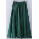 Plain High Rise Elastic Waist A-Line Flared Pleated Midi Skirt