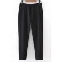 Women's Mid Waist Button Fly Loose Plain Cigarette Pants